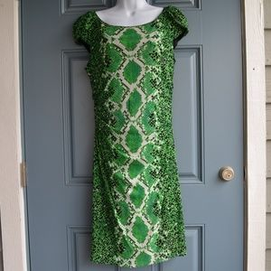 Green Abstract Print Maxi Dress by Kay Unger